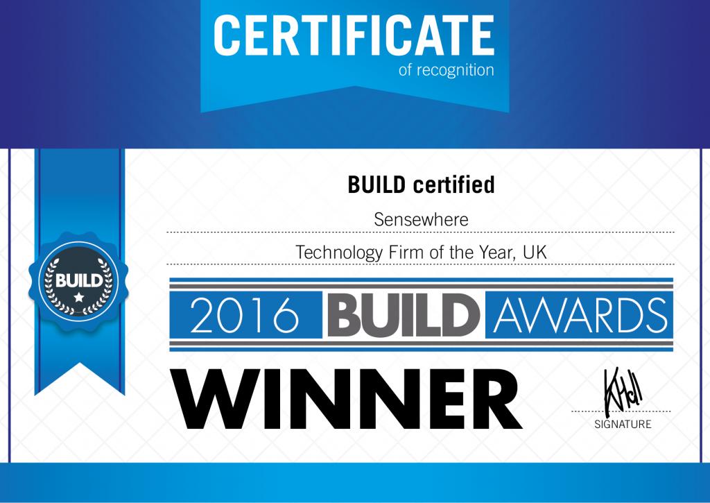 2016 BUILD Awards Certificate